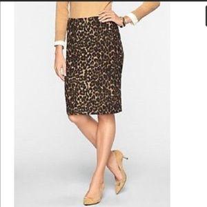 Leopard print Talbots pencil skirt